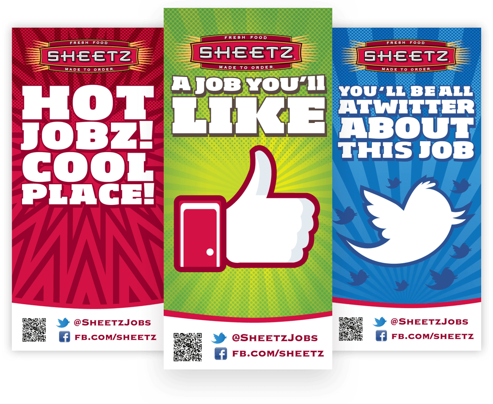 Three banner ads that promote jobs at Sheetz