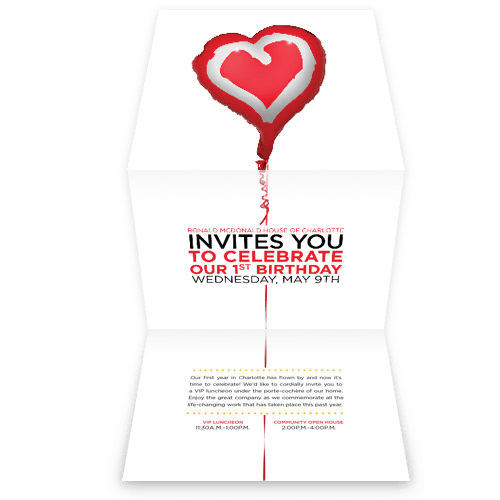 Birthday invite that folds out showcasing a balloon.
