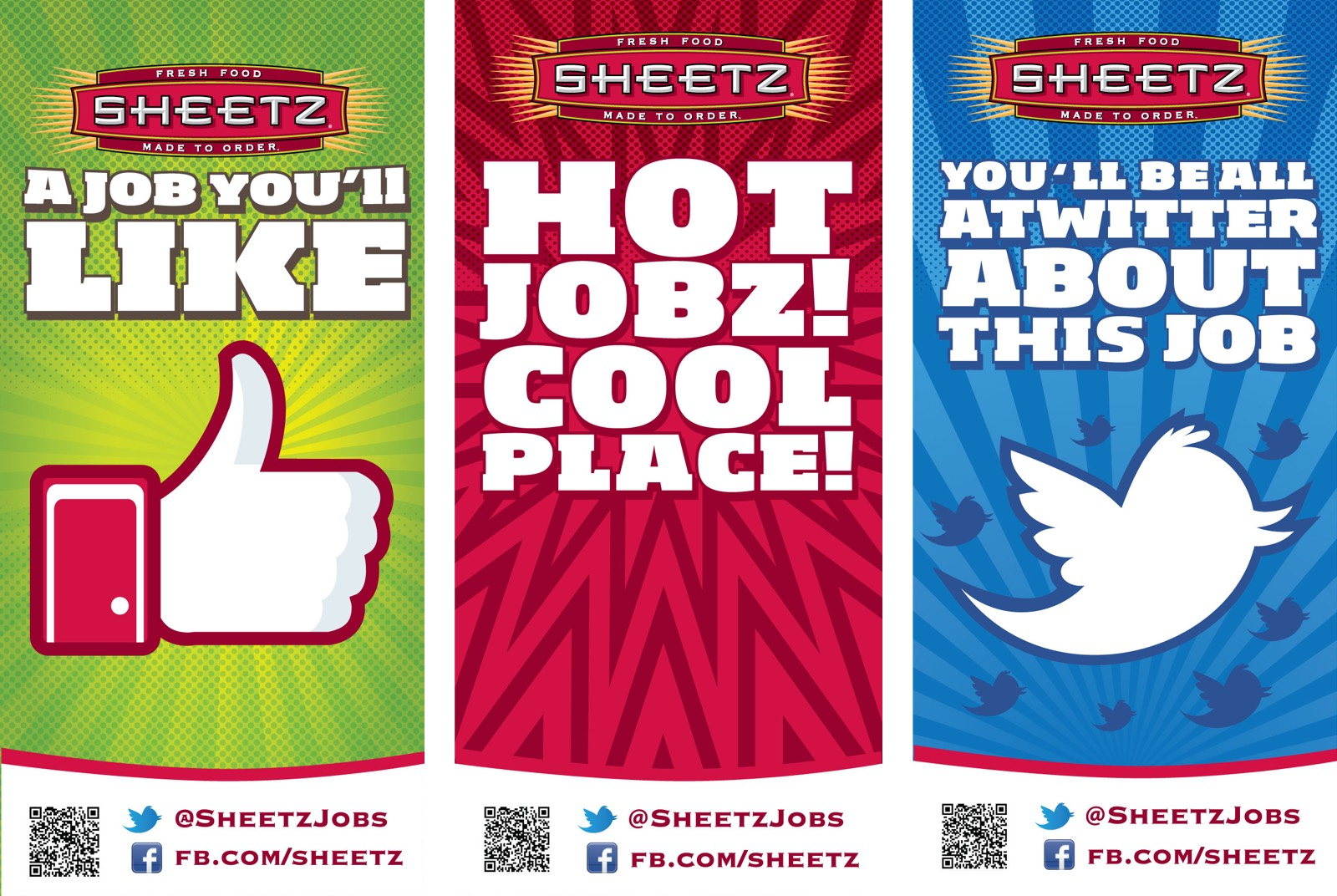 3 banner concepts promoting careers at Sheetz