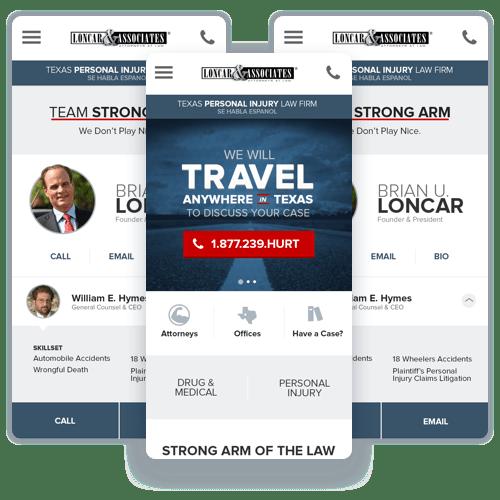 Mobile screenshots of the Loncar & Associates website