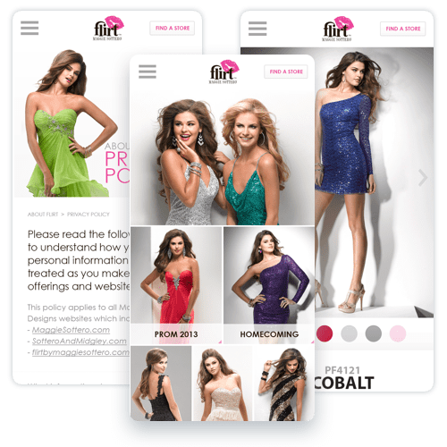 Flirt was a Maggie Sottero brand for prom dresses. This is the mobile friendly design of their website when mobile redirects where still popular.