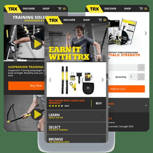 Mobile screenshots of the TRX website