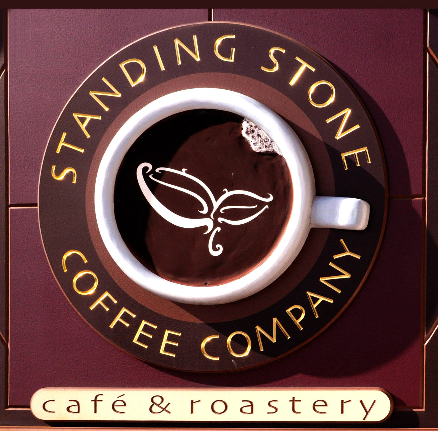 Outdoor sign of Standing Stone Coffee Company