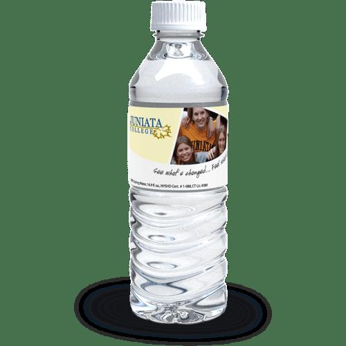 Image of plastic water bottle with Alumni weekend label