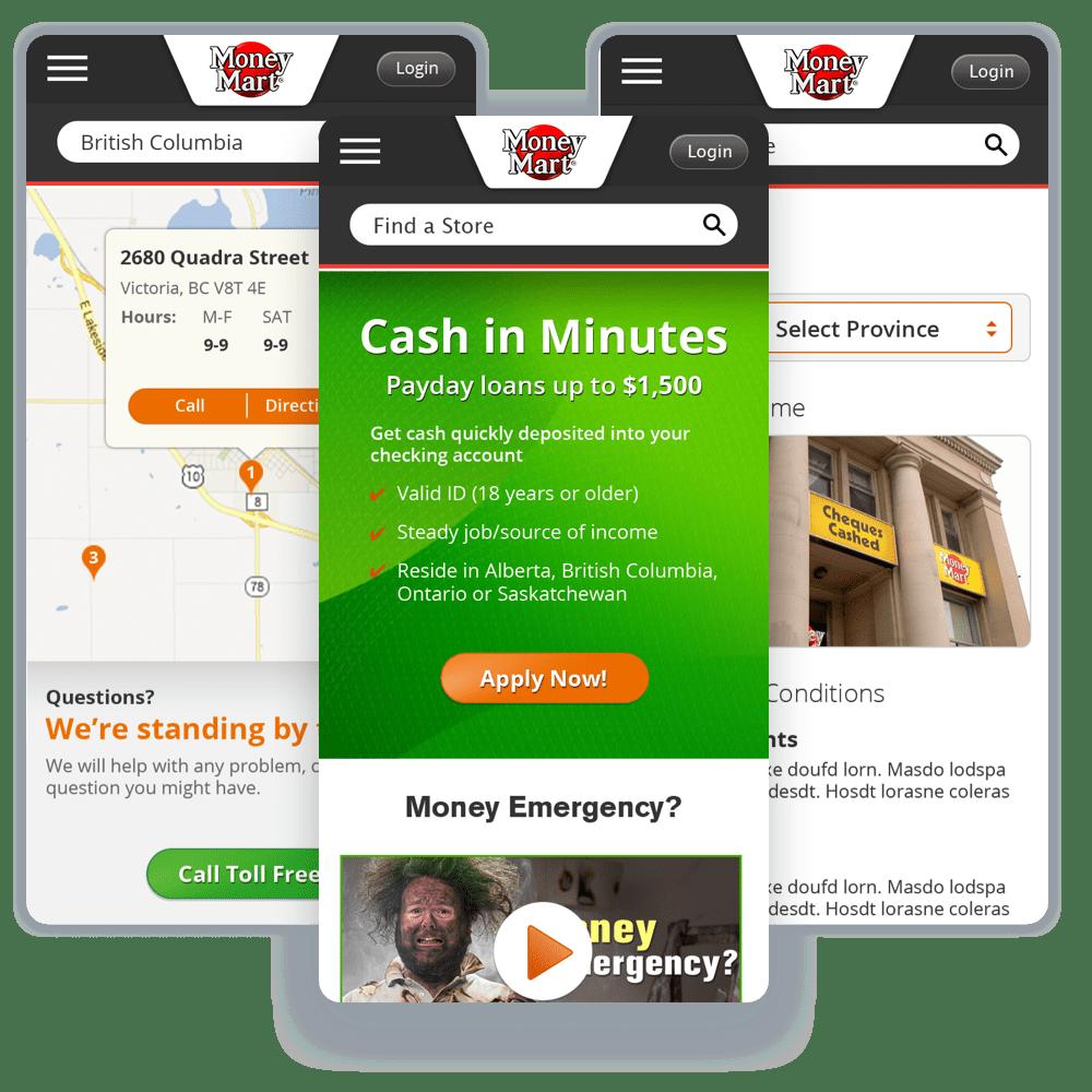 Mobile screenshots of Money Marts website.