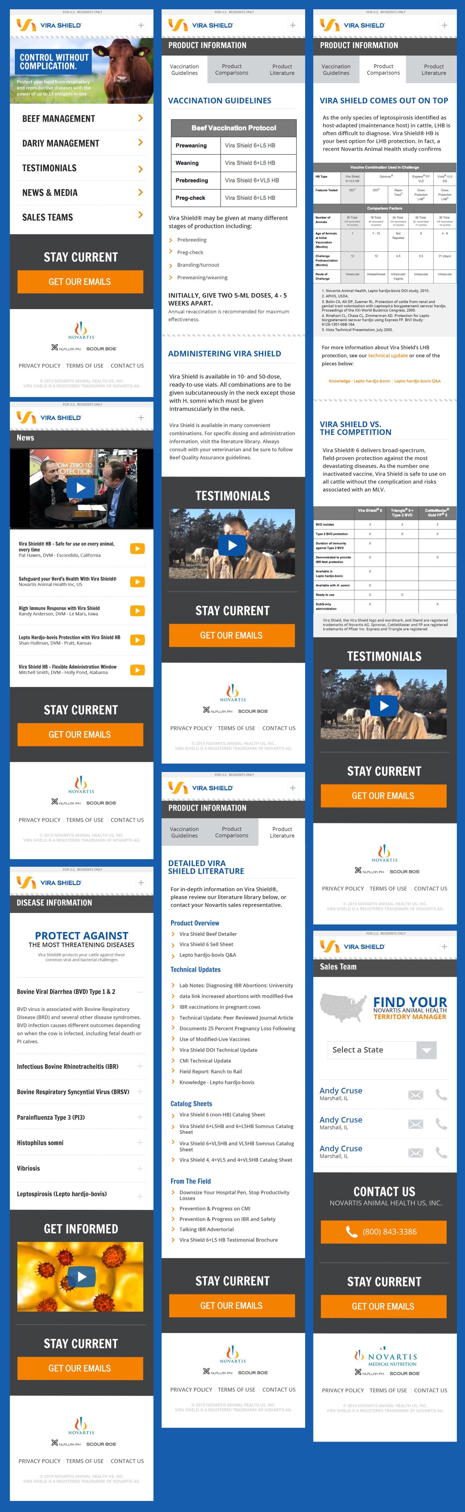 Screenshots of the Vira Shield mobile website.