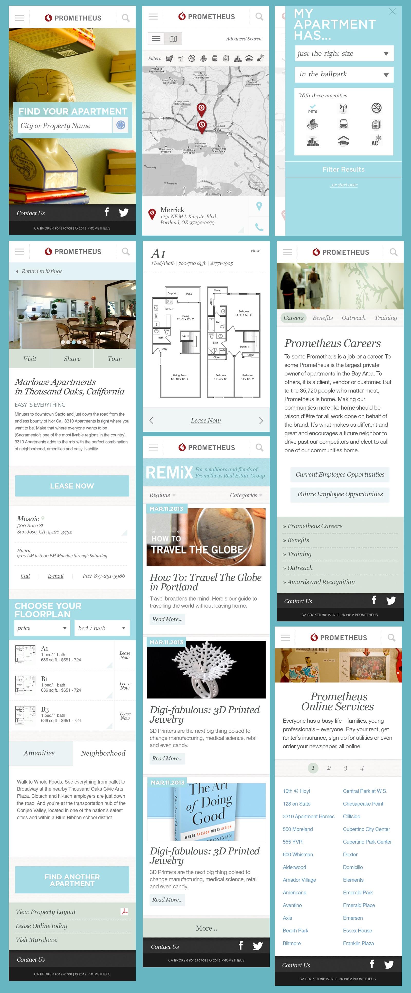 Screenshots of the Prometheus mobile website