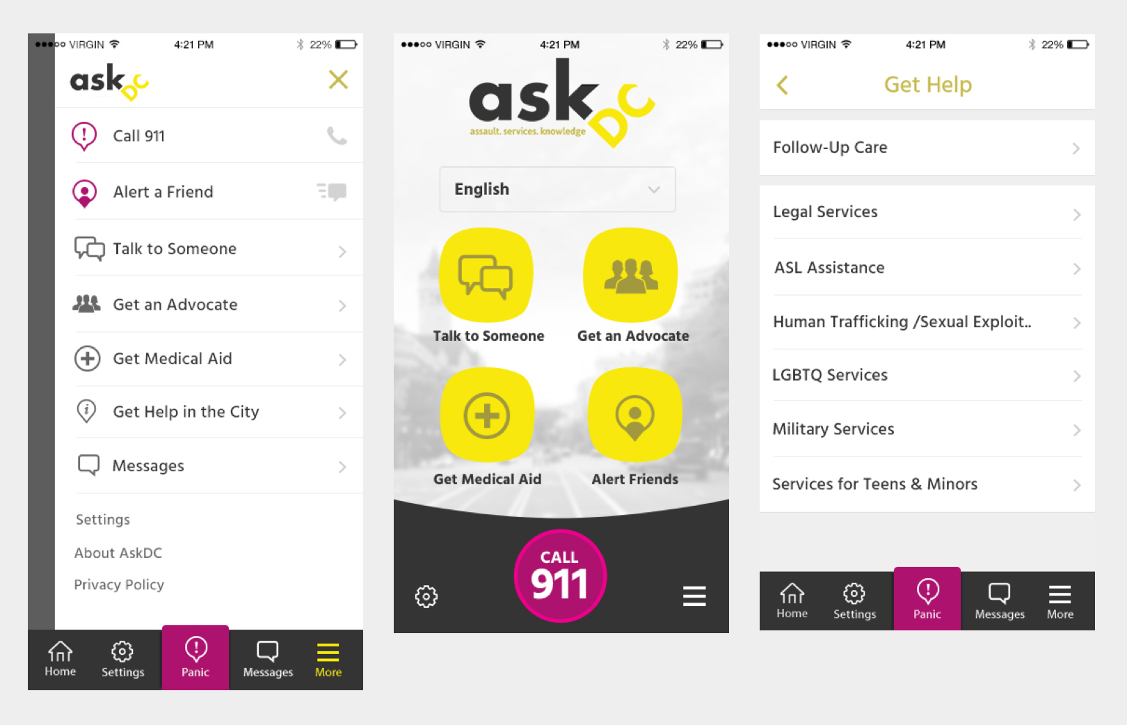 Screenshots of the ASKDC mobile app