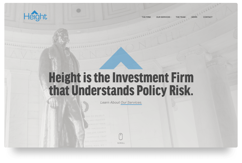 Screenshot of the Height homepage