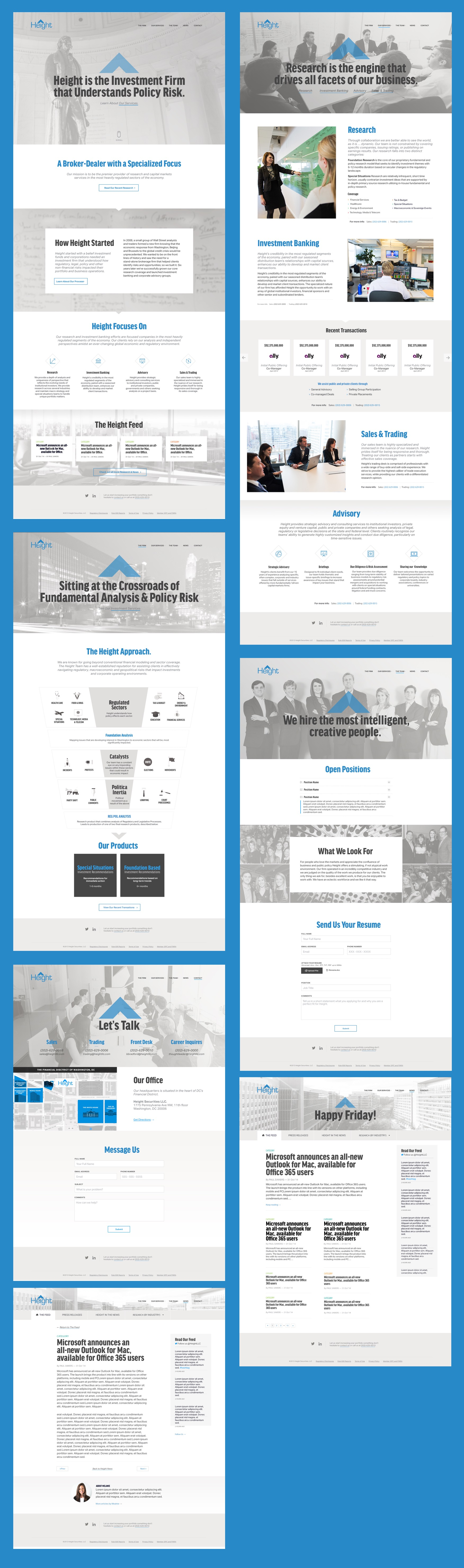 Screenshots of the final design for the Height website.