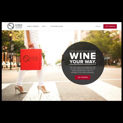 Screenshot of the homepage of vinolovers