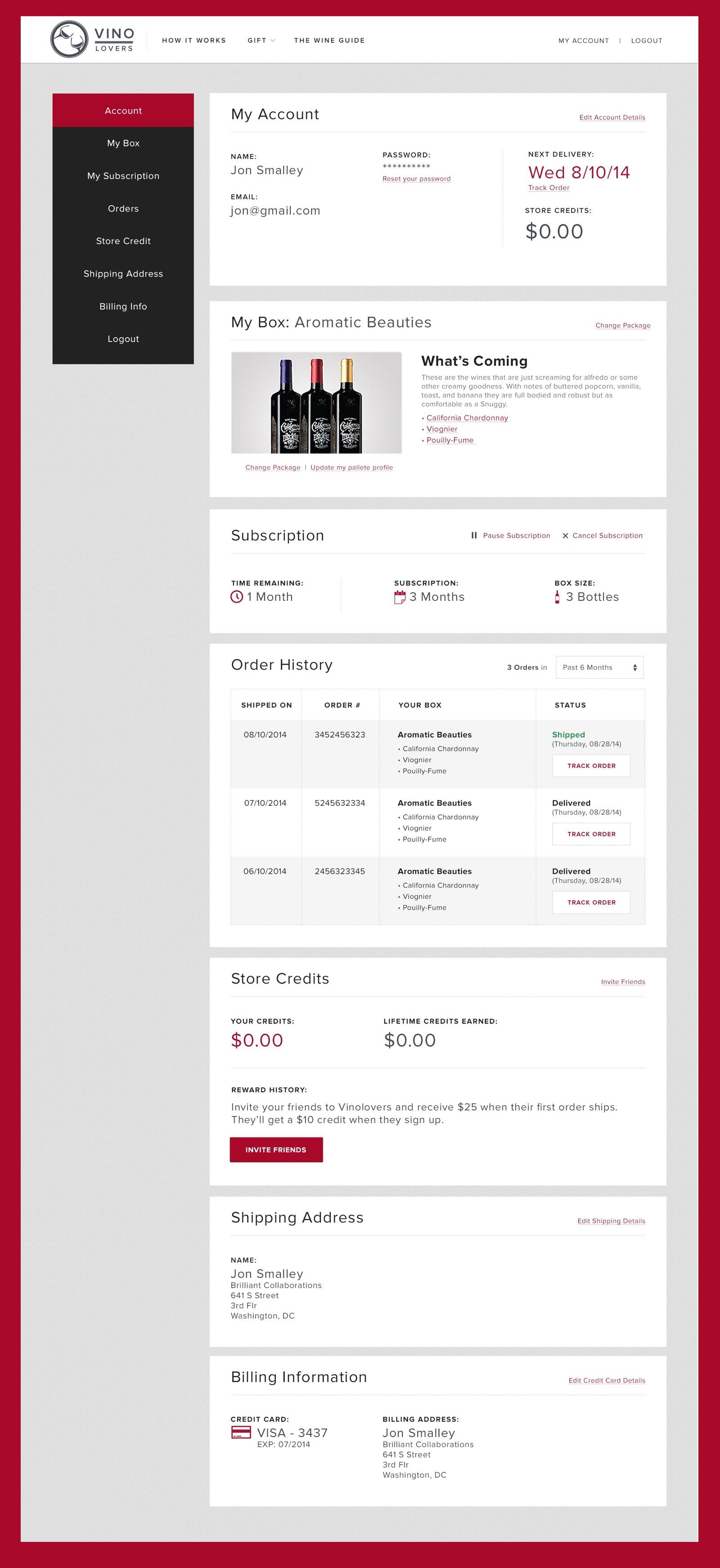 Screenshot of the account management dashboard