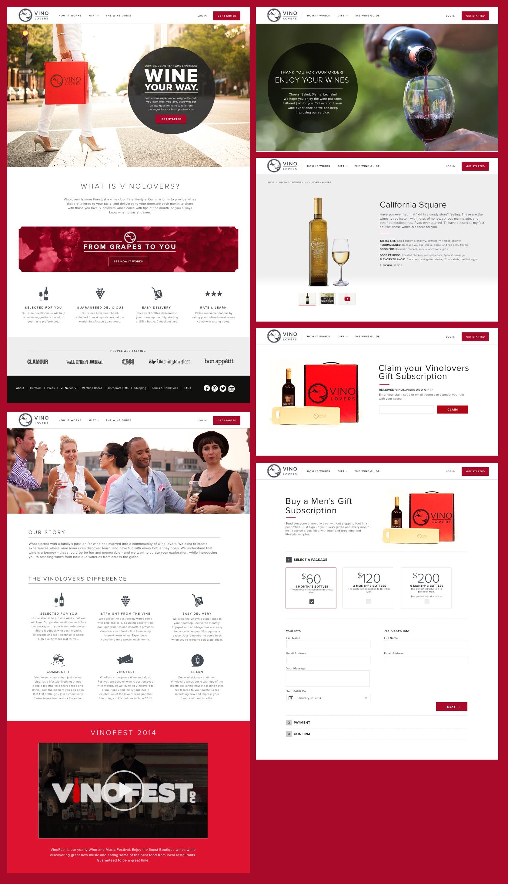 Screenshots of the Vinolovers website