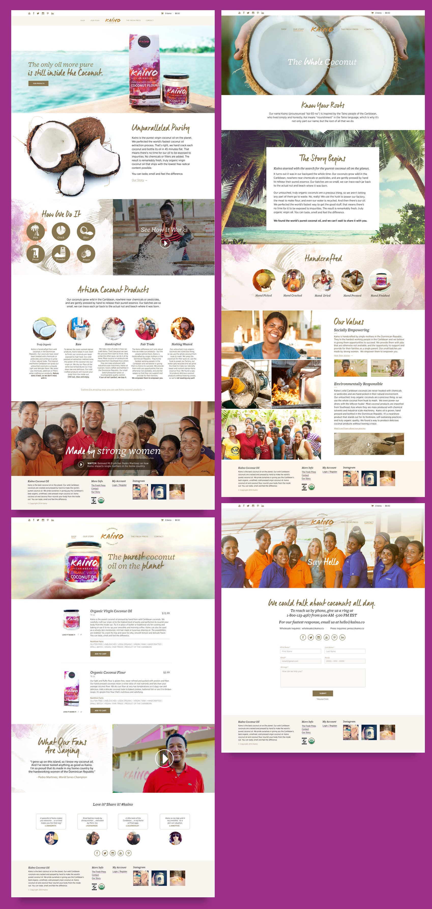 Series of designs of the Kanio website.