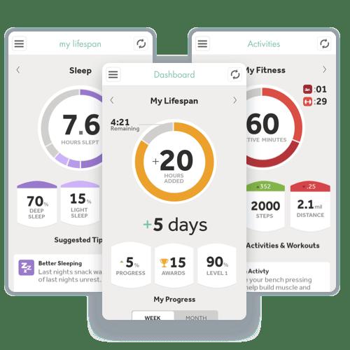 Screenshots of the Lifespan App