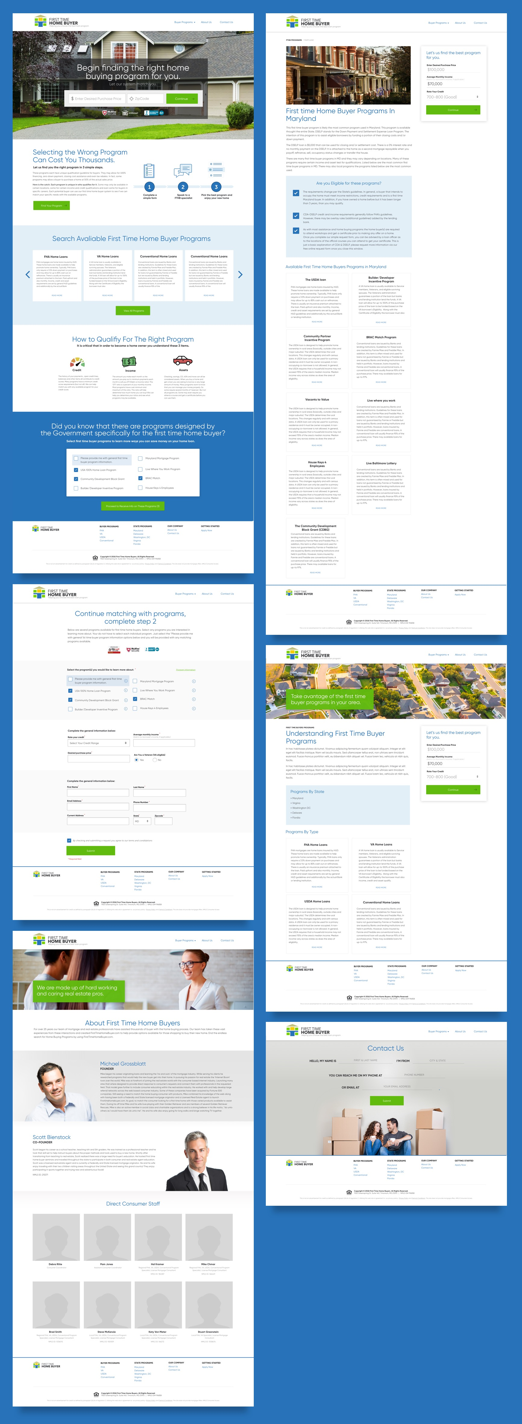 Screenshots of the First Time Home Buyers website.