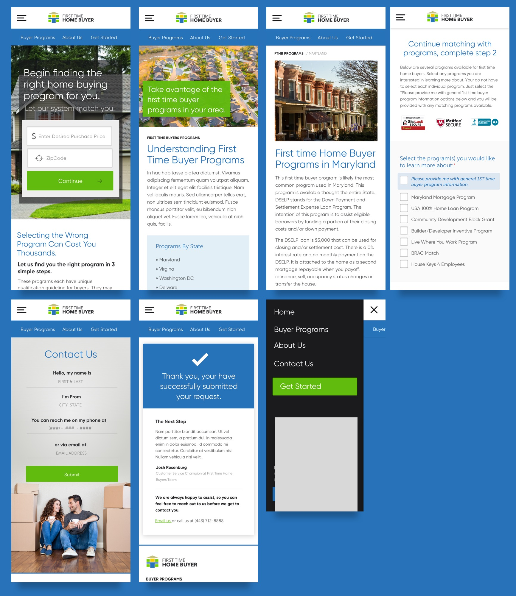 Mobile designs of the First Time Home Buyers website