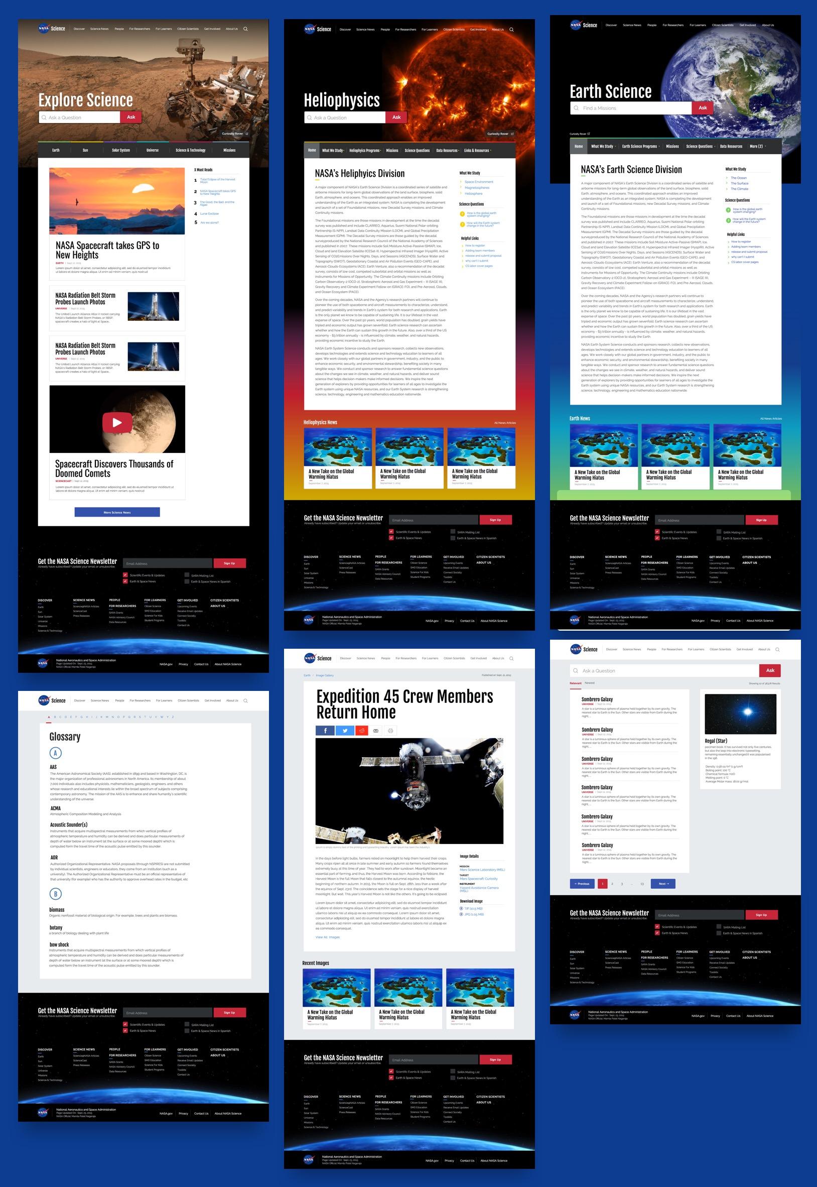 Screenshots of the final designs of NASA SMD