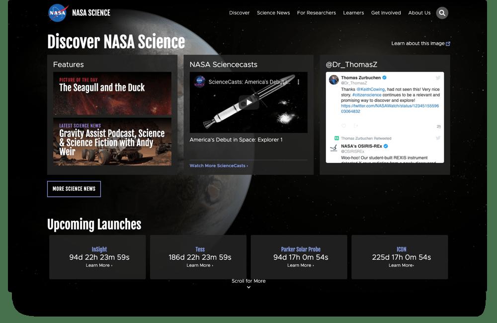 Screenshot of the lastest NASA Science homepage