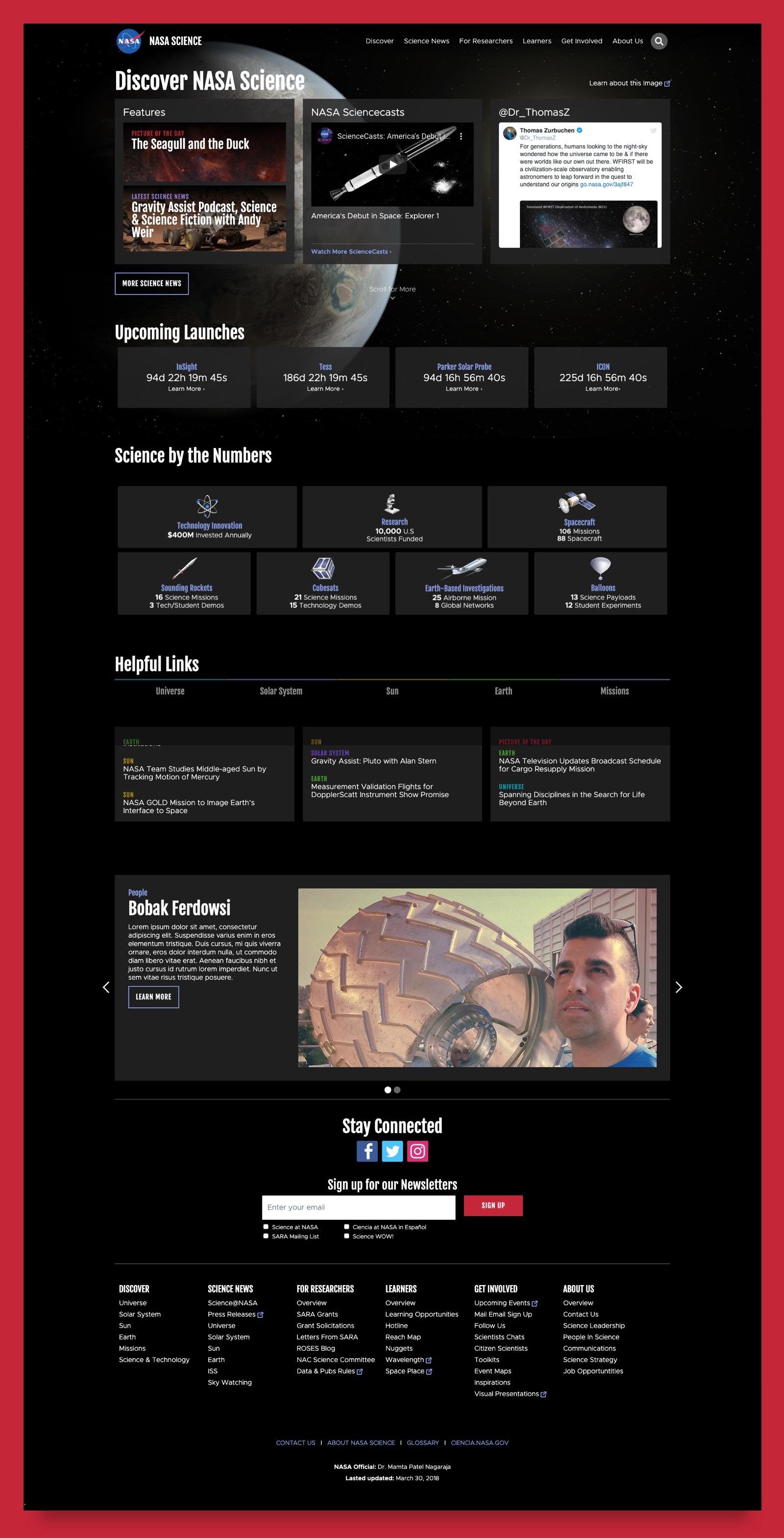 Lastest NASA Science homepage