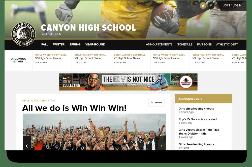 Screenshot of the homepage template