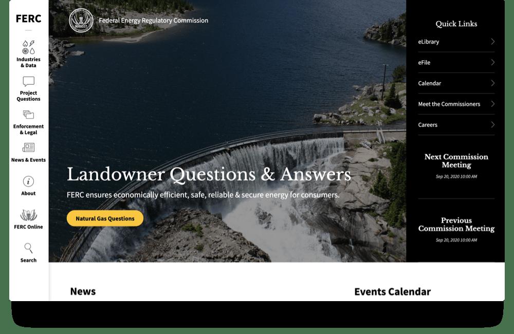 Homepage of FERC.gov