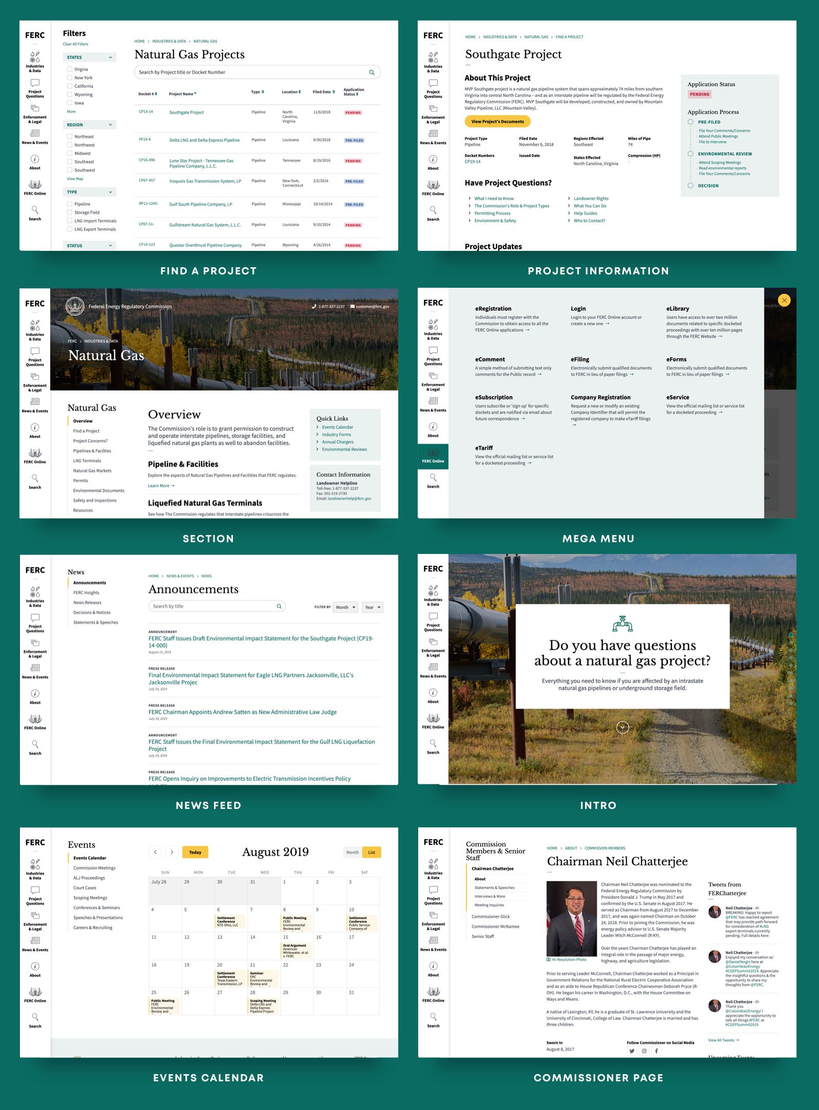 Screenshots of FERC redesign