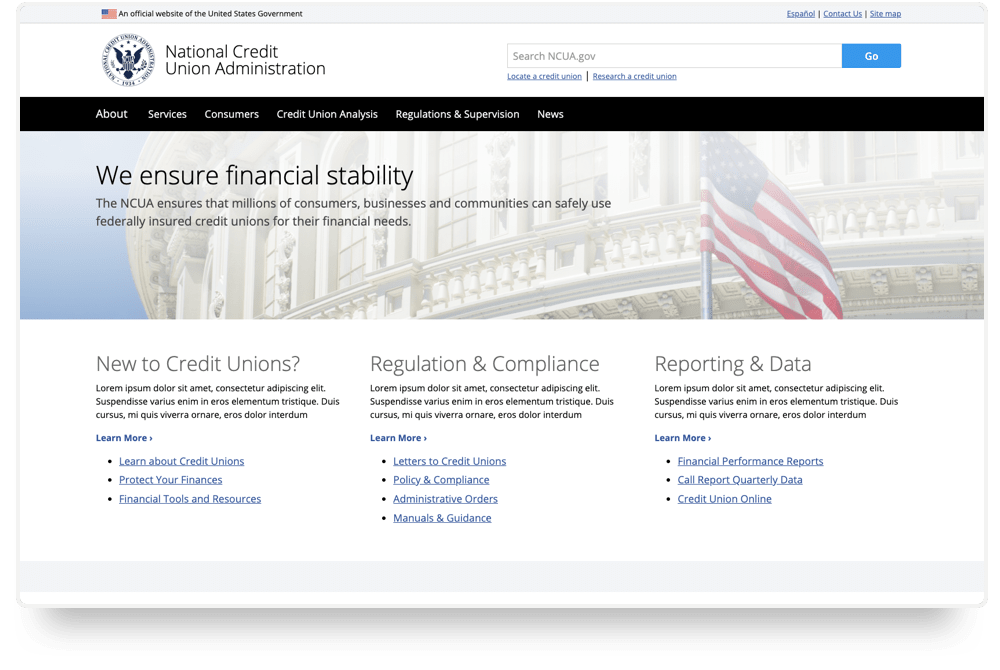 Wireframes of the NCUA homepage