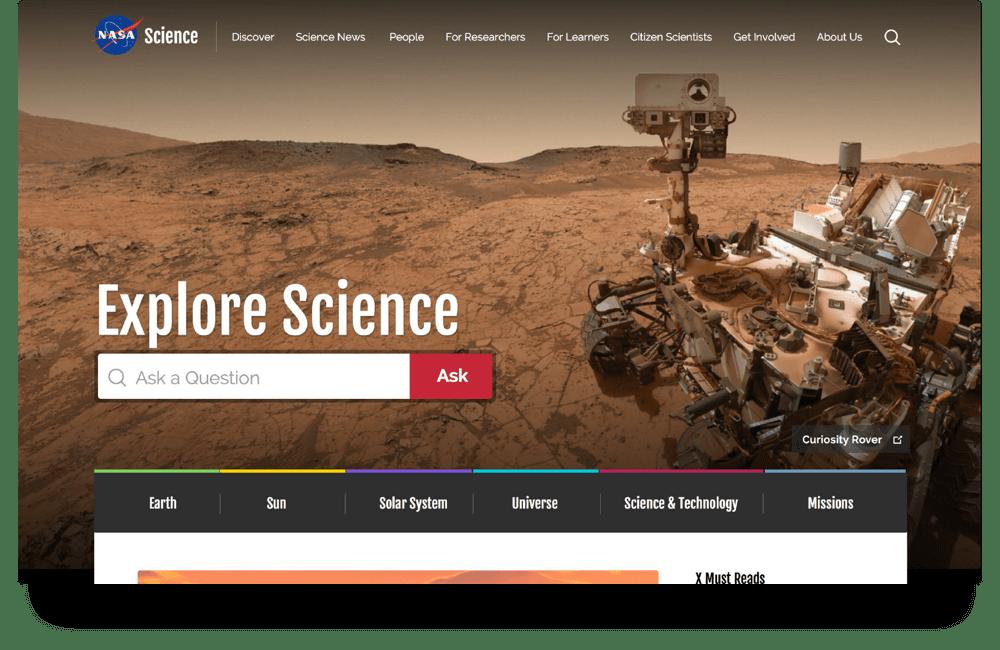 Screenshot of NASA SMD homepage