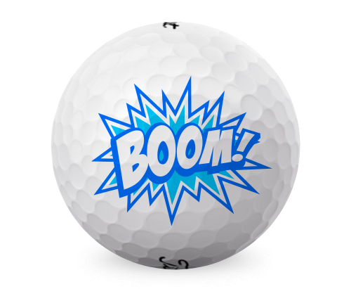Promotional golfballs with BOOM! on it.