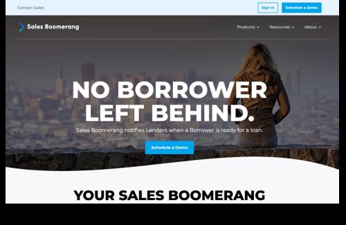 Sales Boomerang's New Homepage