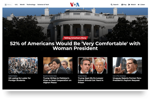 Homepage design of Voice of America