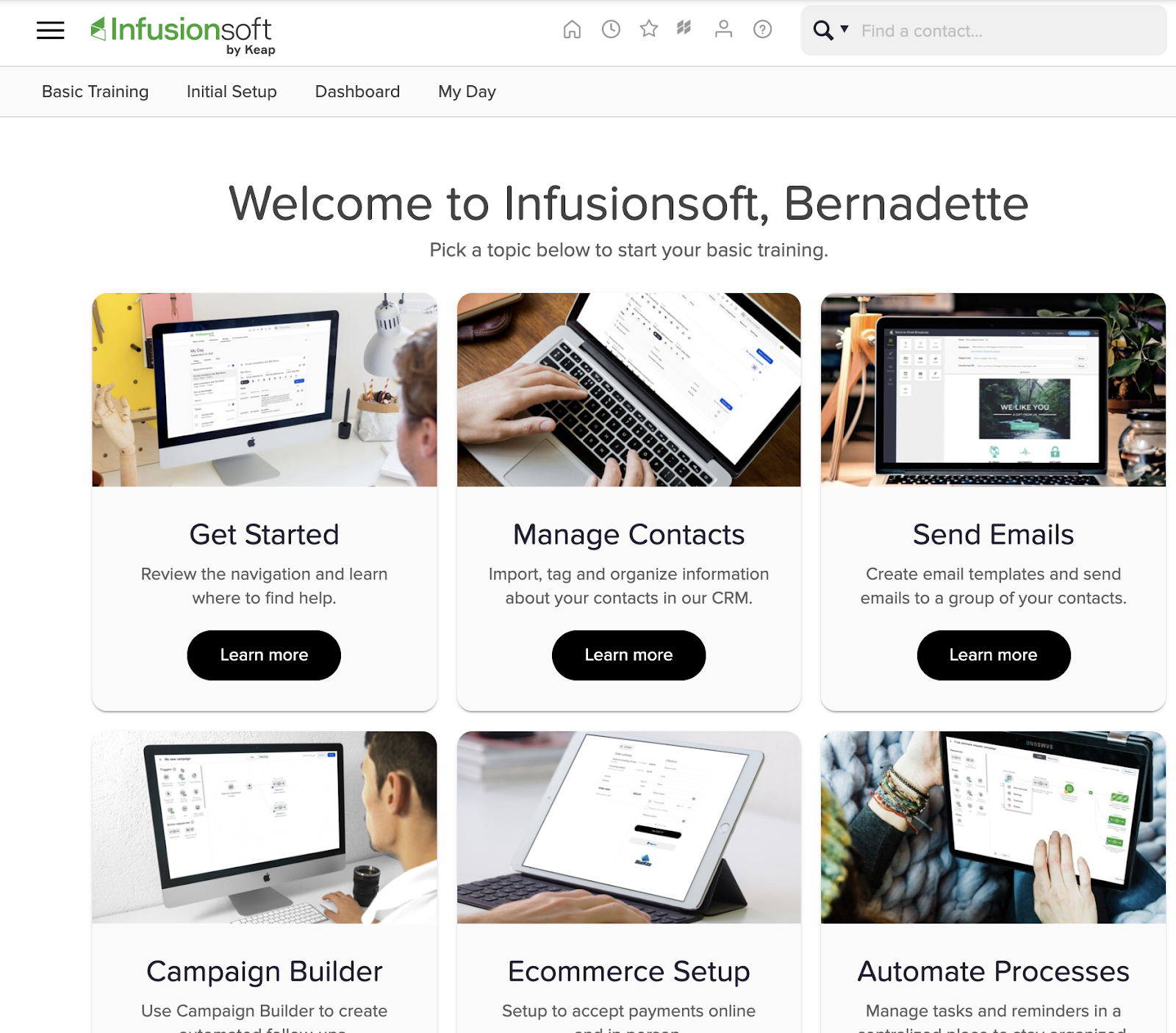 Infusionsoft welcome screen