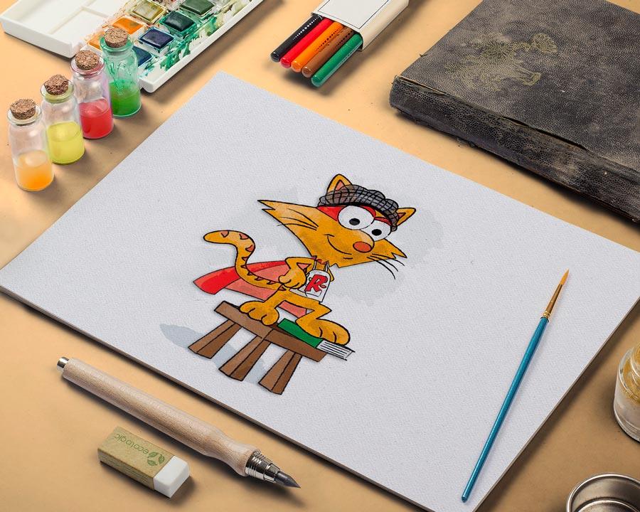 rocket cat watercolor image