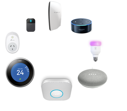 Smart home devices arranged in a circle with transparent background