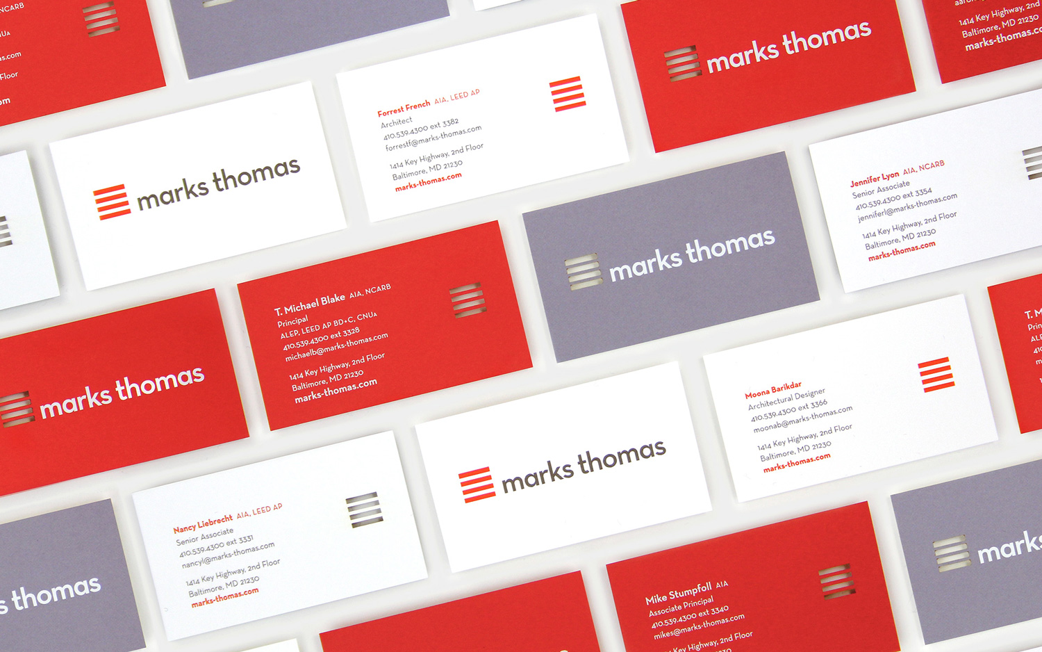 rows of marks thomas business cards