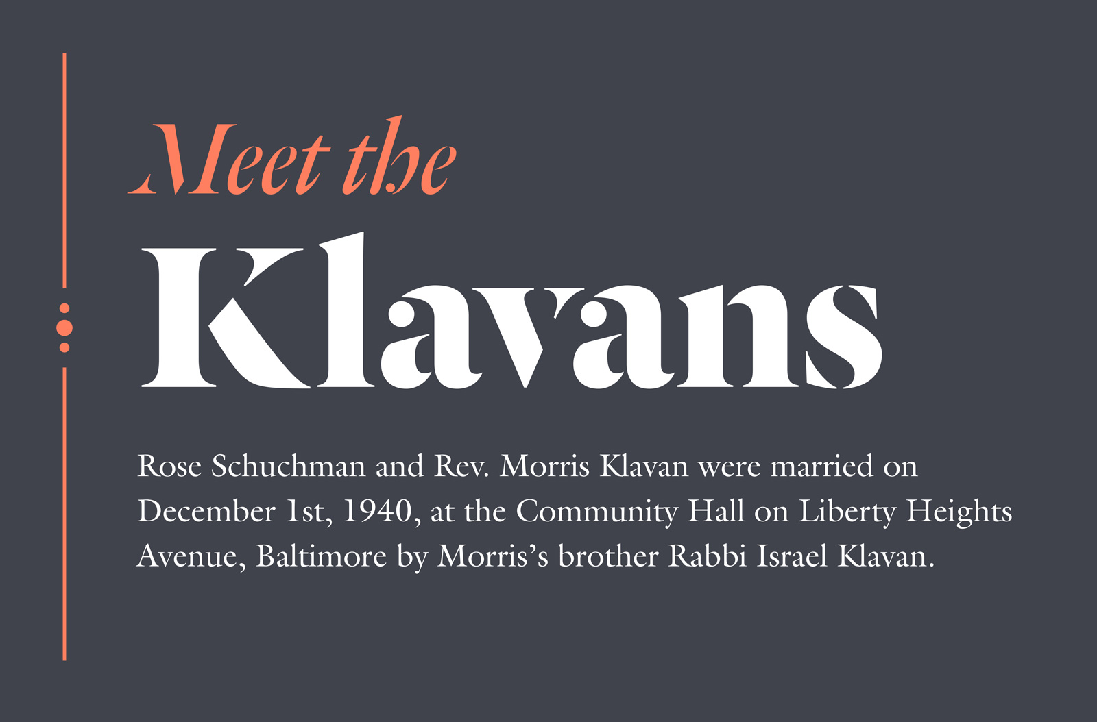 Just Married text panel: Meet the Klavans, detail