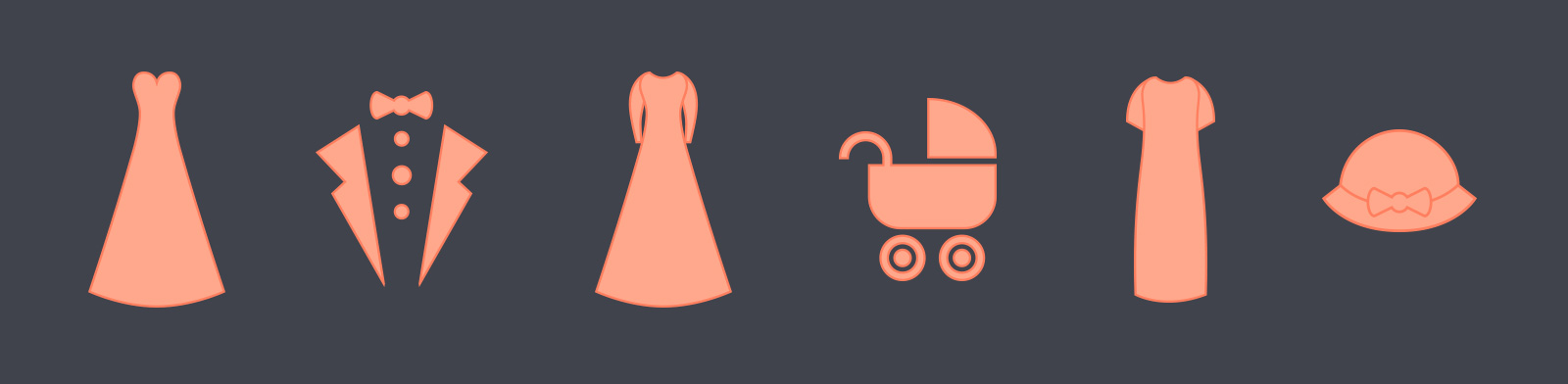 Just Married exhibition icons