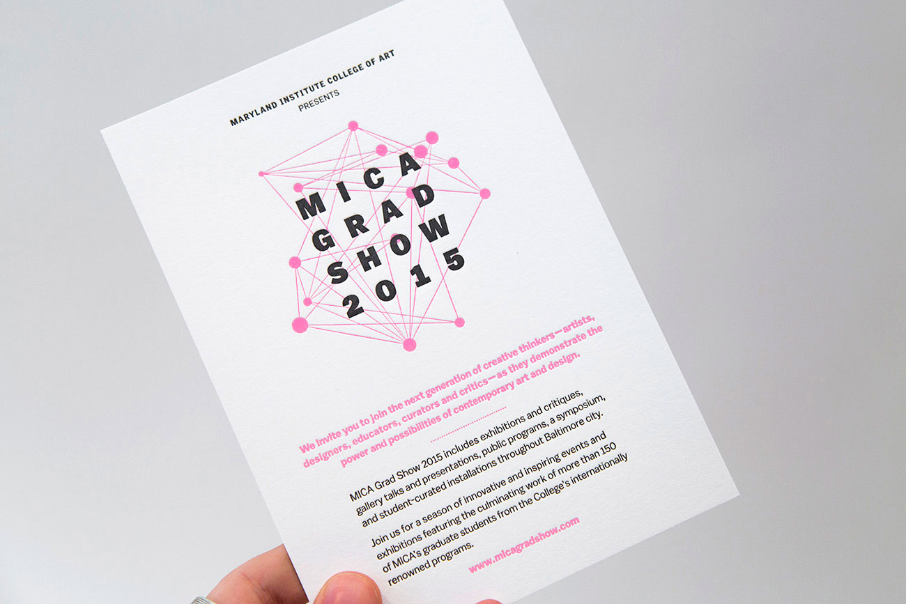 MICA Grad Show letterpress-printed invitation