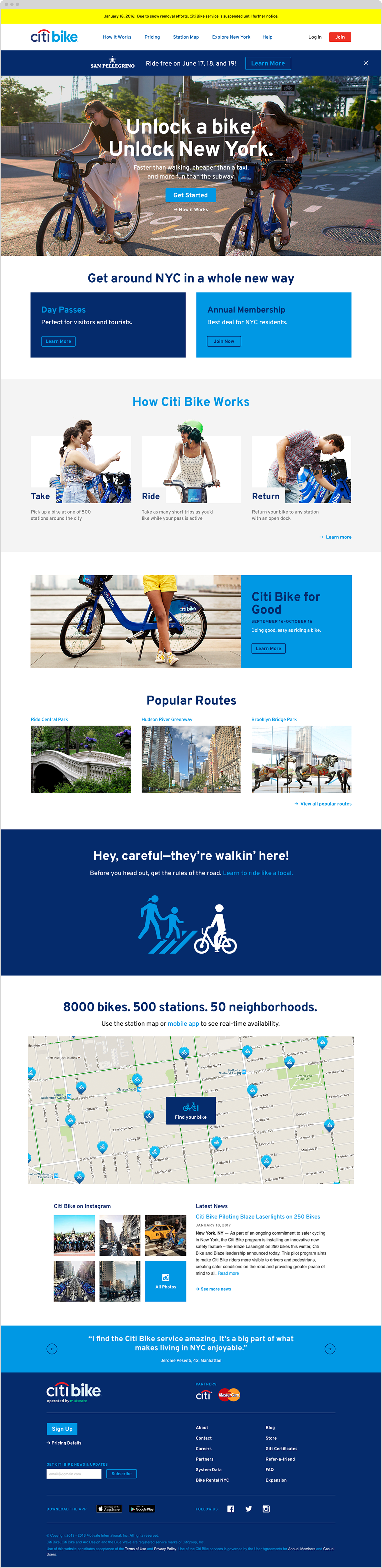 homepage for Citi Bike