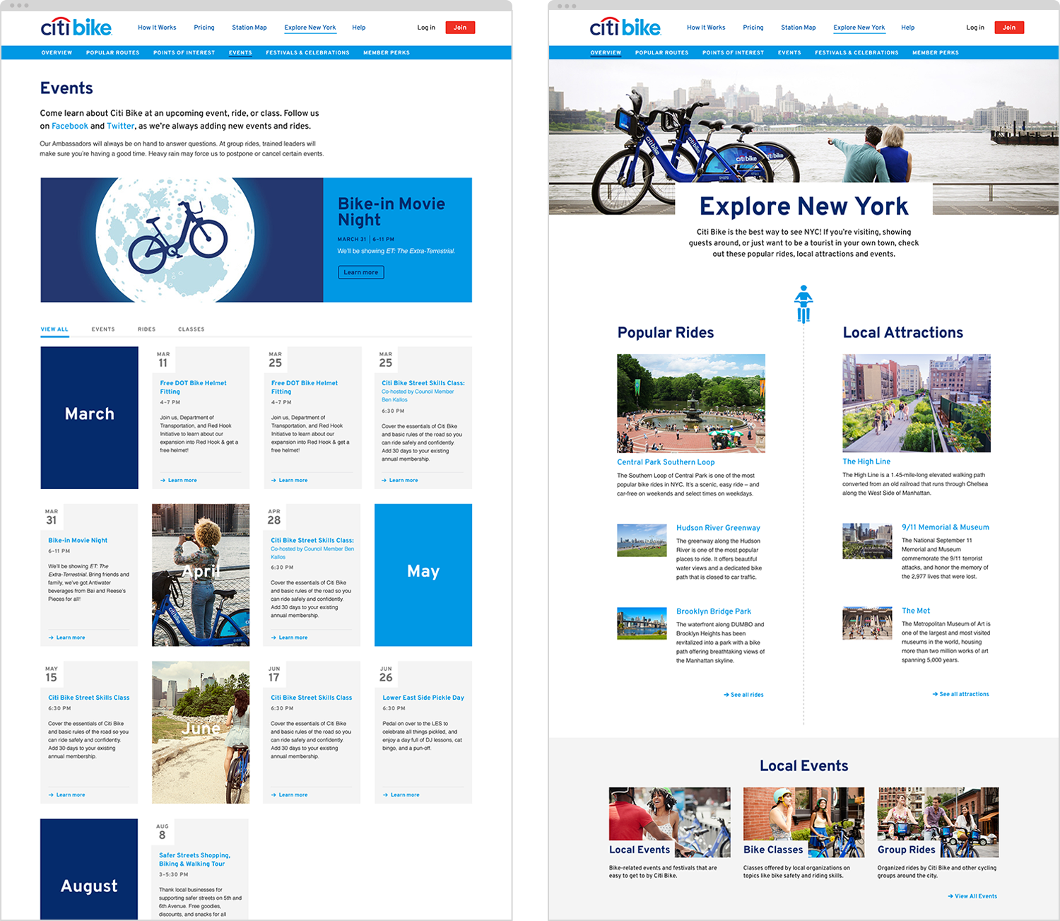 Events and Explore pages for Citi Bike