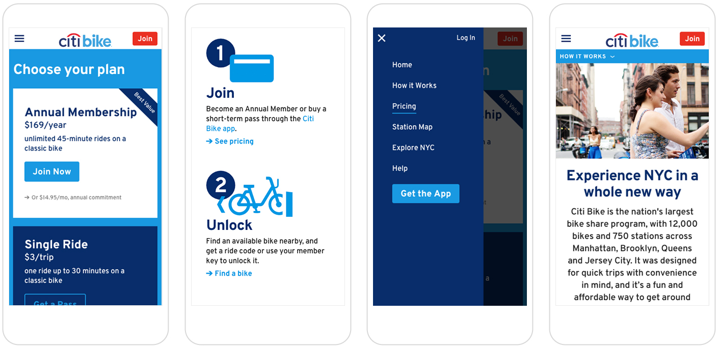 mobile screens of Citi Bike website