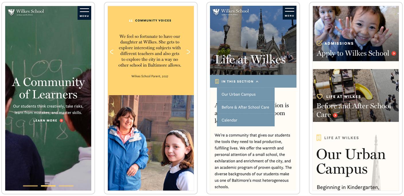 wilkes school website mobile screen views