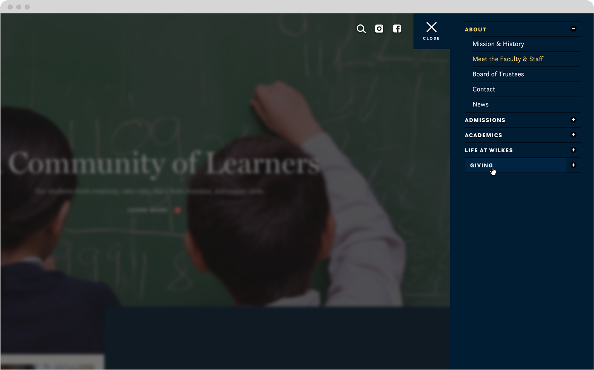 wilkes school website navigation