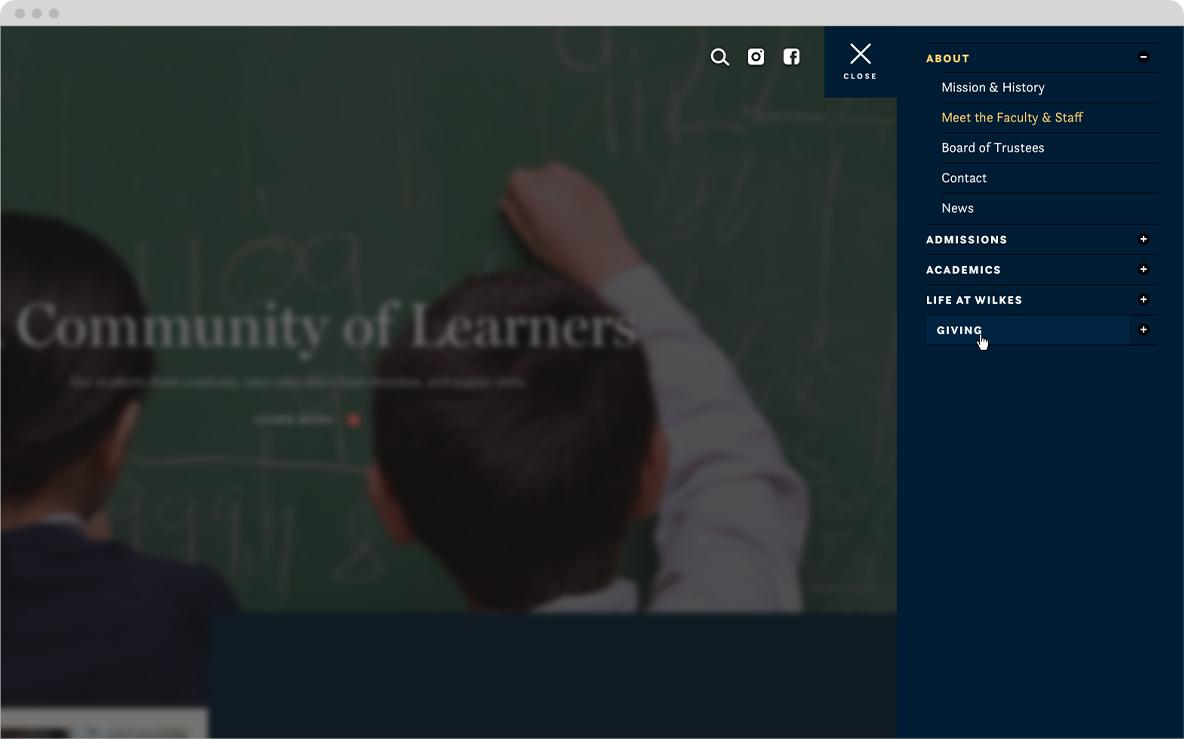wilkes school website navigation