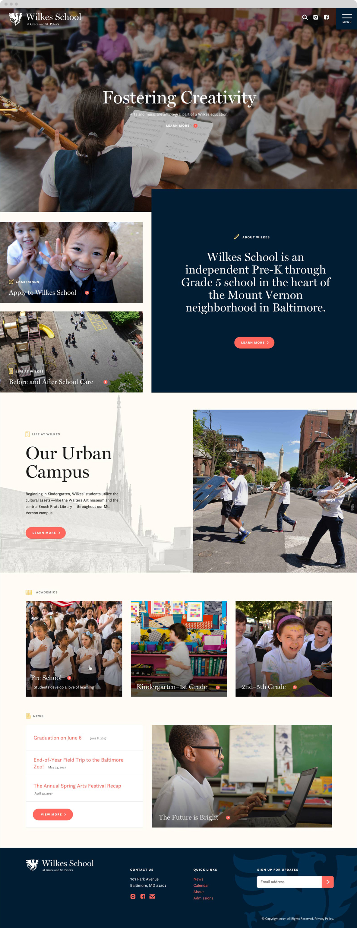 wilkes school homepage of website