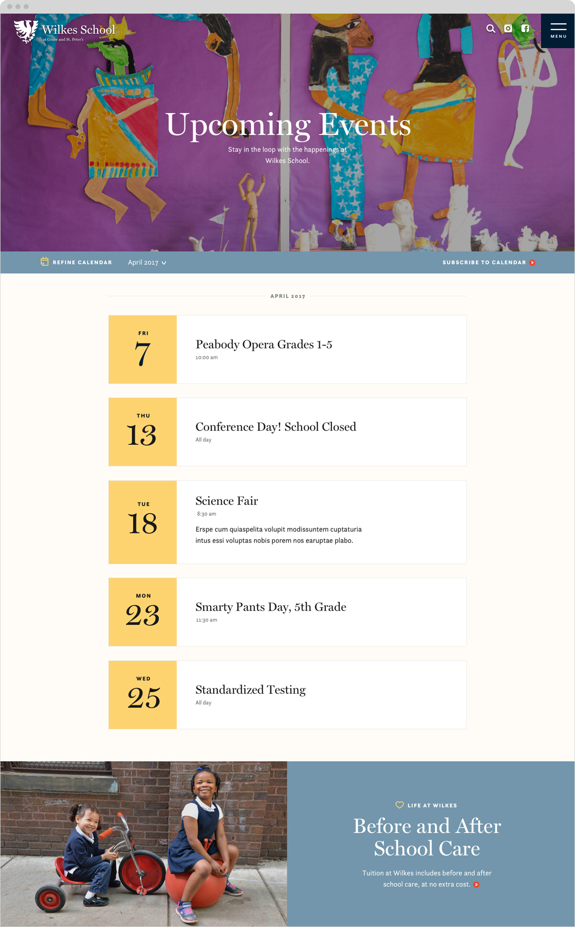 wilkes school website events page