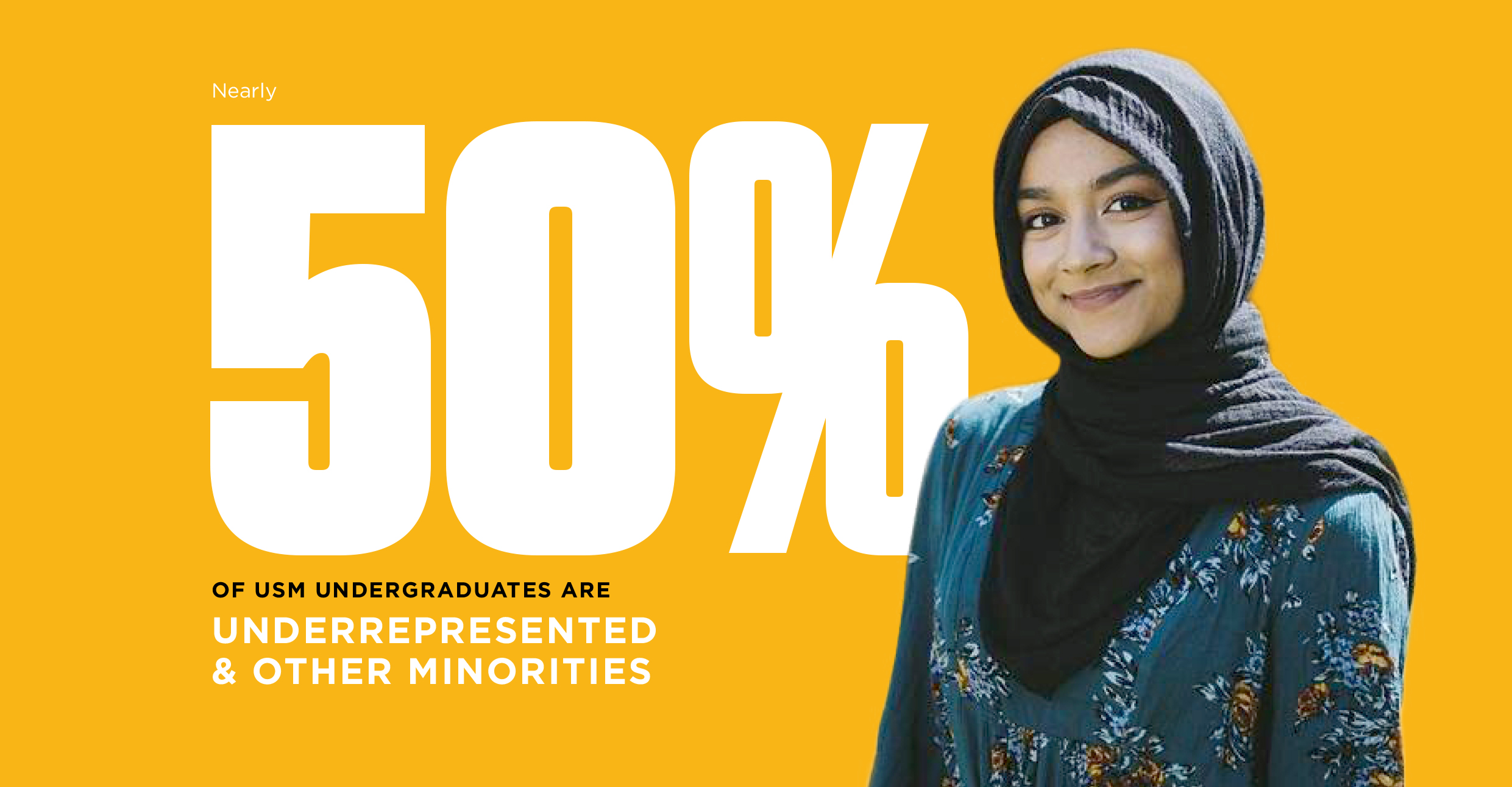 nearly 50% of USM undergraduates are underrepresented and other minorities