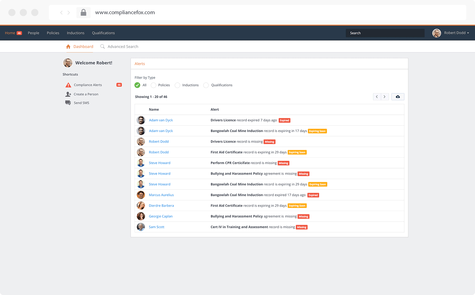 Competency and compliance alerts view in Compliance Fox workforce compliance and HR management system