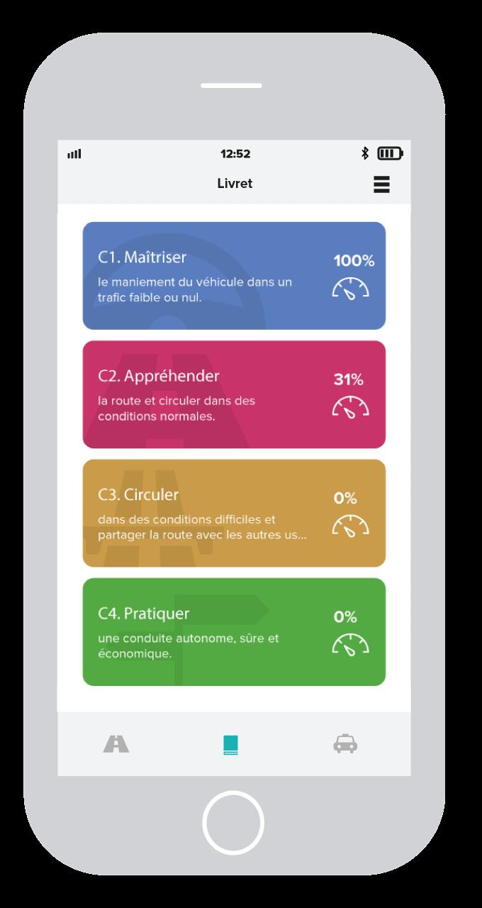 Ecrand des compétences sur l'application Mounki sur mobile pour les élèves en école de conduite